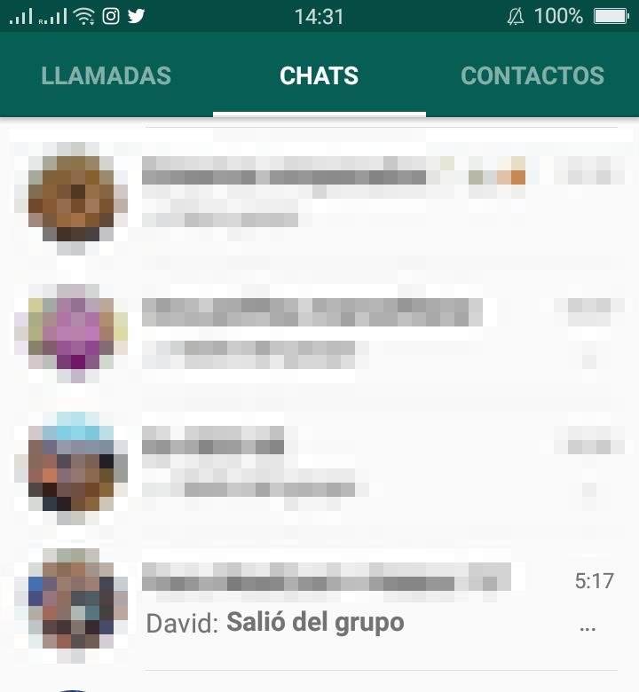 simular abandonar grupo en whatsapp